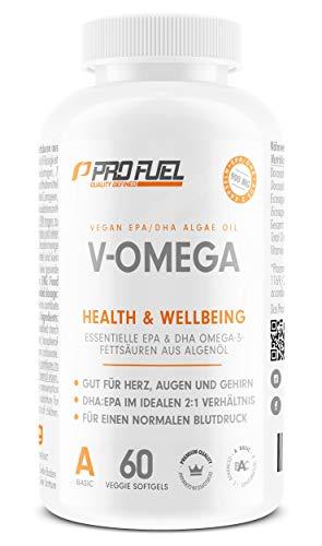 Vegan Omega 3 Kapseln [1.100 mg] hochdosiert | Hochwertiges Omega 3 vegan mit hohem EPA & DHA Gehalt - besser als Fischölkapseln! V-OMEGA 60 Kapseln