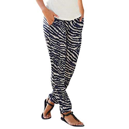 Clacce Damen Sommerhose   All-Over-Print Haremhose   Schlabberhose aus 75% Baumwolle   Luftige Urlaubshose mit Taschen   Leichte Sommer Hose   Weite Chillerhose mit und ohne Bündchen -