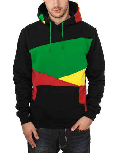 Urban Classics Herren Kapuzenpullover Zig Zag Hoodie, Farbe Black/Rasta, Größe XXL Colorblock Pullover Hoody