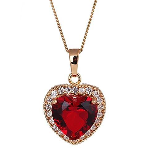 Golden Love Herz Halskette rot Kristall Vintage Charm Kette Lätzchen Statement