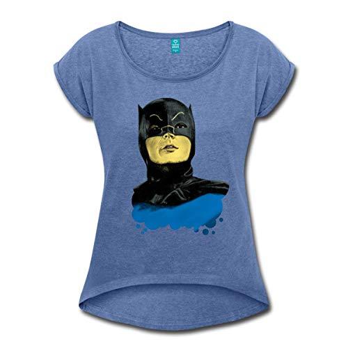 Spreadshirt DC Comics Batman Vintage Kostüm Porträt Frauen T-Shirt mit gerollten Ärmeln, M, Denim meliert