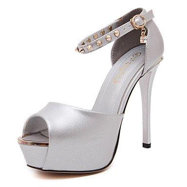Moda Donna Sandali Sexy donna tacchi Primavera / Estate Autunno / Piattaforma / cinturino alla caviglia PU Party & sera abito / / Casual Stiletto Heel Crystal / rivetto / fibbia Silver