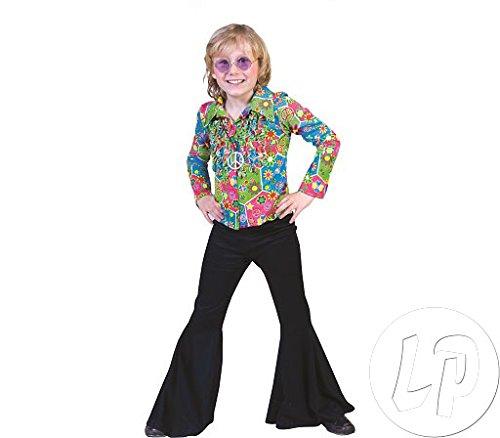 (Kostüm Hose Hippie schwarz Kind Größe 116 Kinderkostüm Mädchen Jungen Schlaghose 60er 70er Jahre Motto Party Flower Power Karneval Fasching Pierro's)