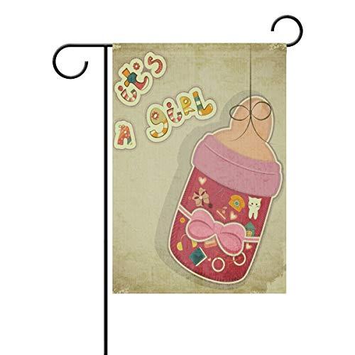Happy Birthday Garden Flag Double Sided Home Decorative, Vintage It's Girl Pink Milk Bottle House Yard Flag, 12 x 18 Inch New Born Child Party Birthday Banner Outdoor Flag Best Birthday Gift (Lkw-happy Birthday)