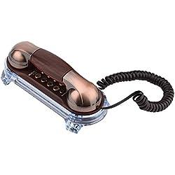 Téléphone Rétro, Téléphone Filaire Antique Fixé au Mur Téléphone Fixe Vintage avec Voyant Inférieur pour l'Hôtel et la Maison(Cuivre Rouge)