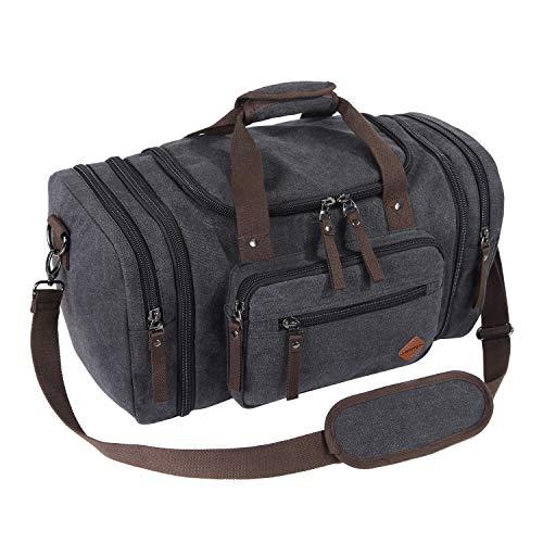 VENTCY Canvas Reisetasche Groß Herren Damen Weekender Tasche Sporttasche Frauen Männer Gym Duffle Bag Handgepäck Tasche 40L für Urlaub Business Schwarz