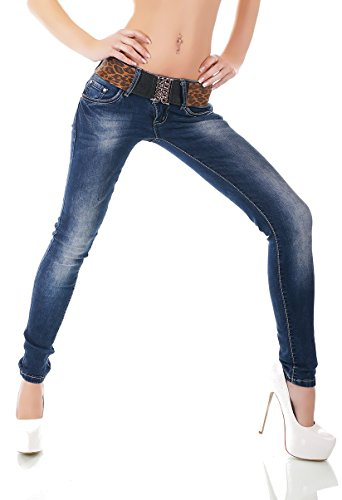 8b76826aeb4d86 RED SEVENTY Redseventy Skinny Women's Jeans with Wide Belt, Farbe:Jeans,  Größe: