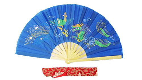 Lehrer Kostüm Tanz - CHN Elements.accessories FD-DP-Blue-Bamboo Folding Fan Tai Chi Fan/Kung Fu Fan/Martial Arts/Dancing Fan Oriental Design-Dragon&Phoenix