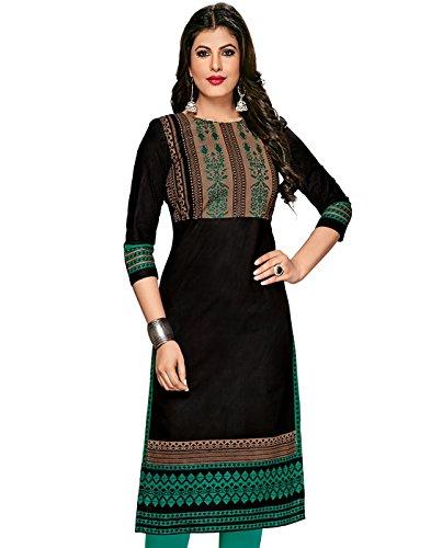 Jevi Prints Women's Dress Material (Kavya-1264_Black_Free Size)