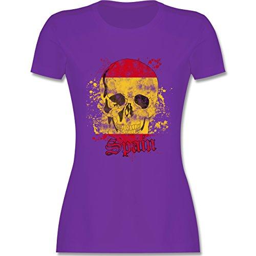 EM 2016 - Frankreich - Spain Schädel Vintage - tailliertes Premium T-Shirt mit Rundhalsausschnitt für Damen Lila