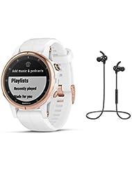 Garmin GPS-Multisport-Smartwatch Fenix 5S Plus Saphir – Music-Player, GPS - 42mm Gehäuse in Rosegold/Silikon-Armband Weiß - inkl. Bluetooth Headset
