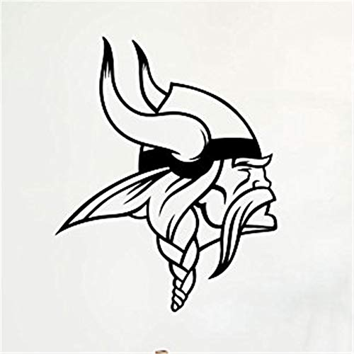 zzlfn3lv Tatuajes de Pared Vikingo Logo de Vinilo de fútbol Americano Mural Art Decor Home Decor extraíble Kids Room Etiqueta de la Pared 58 * 71 cm