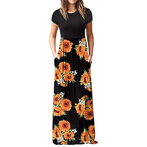 LOPILY Damen Sommerkleider Böhmischen Strand Blumendruck Bodenlänge Maxikleid Abendkleider Herrlich Blüte Drucken Hoher Taille Kleider Partykleid Sommer T-Shirt Kleid(X2-Orange,EU-42/CN-XL)