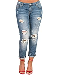 Women's Ladies Stunning Denim Ripped Knee Skinny Jeans
