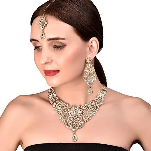 Indischer Bollywood-Schmuck-Set für Frauen, filigranes Desgin, weiß, Strass, Designer-Schmuck, Halsketten-Set für Frauen, in antikem Goldton