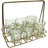 Mc Sid Razz Tea Cup Tea & Coffee Cup Set In (6 Pcs Set) Rakhi Gift 100ml Approx, Tea Cup Glass, Cutting Chai Glasses With Stand, Tea Glass Set Of 6 Transparent With Stand