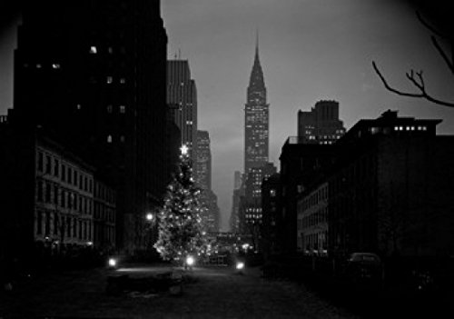 USA New York State New York City Christmas tree in Tudor City with Chrysler Building in background Poster Drucken (60,96 x 91,44 cm)