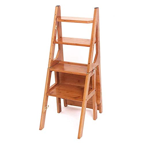 Taburetes de Paso Sillas Y Taburetes Multifunción Muti-Useal Escalera Plegable para el Hogar Escalera de 4 Escalones Silla Taburete de Bambú Grueso Taburete para Niños para la Cocina Doméstica Interi