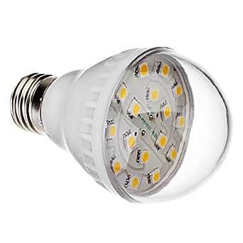 E27 2.5W 16x5050 SMD 200-240lm 2800-3200k blanc chaud Ampoule de boule de LED (220v)