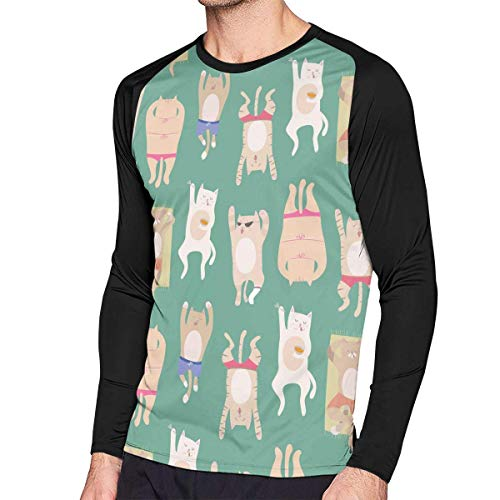 Herren Langarm Classic T-Shirt, Men's Casual Cat Astronaut Long Reglan Baseball Tee -