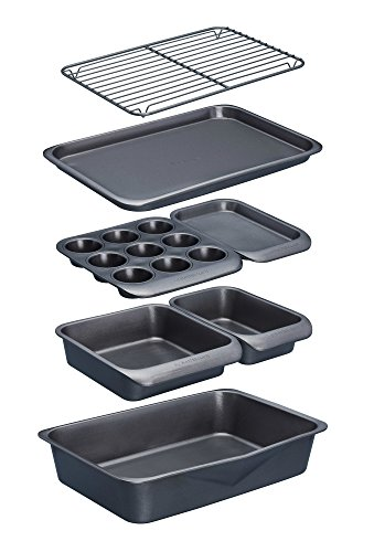KitchenCraft MasterClass Smart Space Non Stick Carbon Steel Stackable Bakeware Set Including Roasting Tin and Baking Trays (7 Pieces)