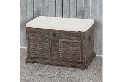 garderobenbank vintage Sitzbank massivholz braun Holztruhe Aufbetrueungstruhe Vintage Garderobenbank