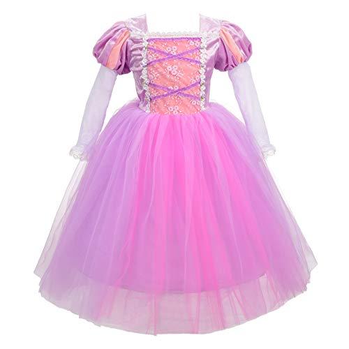 Kostüm Kleid Rapunzel - Lito Angels Mädchen Prinzessin Rapunzel Kleid Kostüm Weihnachten Halloween Party Verkleidung Karneval Cosplay Kinder 5-6 Jahre