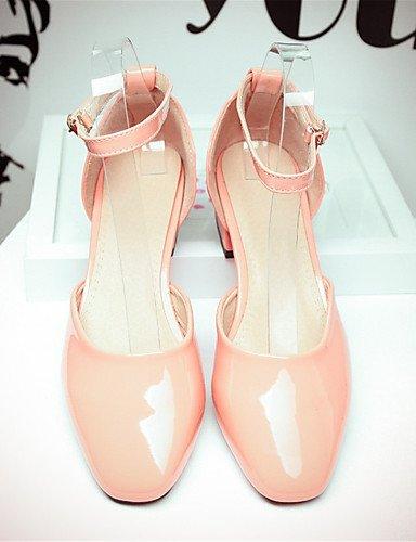 WSS 2016 Chaussures Femme-Mariage / Habillé / Décontracté / Soirée & Evénement-Noir / Rose / Rouge-Gros Talon-Talons-Chaussures à Talons-Cuir Verni black-us7.5 / eu38 / uk5.5 / cn38