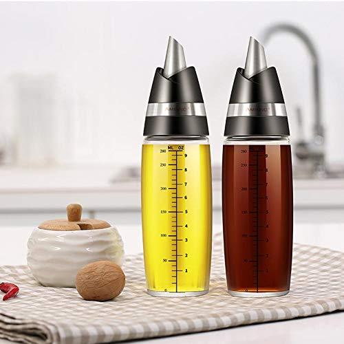 300ml cristal Aceitera o vinagrera (Acero Inoxidable, aceitera (Cristal 0.3L Explosion–Seguridad para aceite, Salsa de soja, sesamöl, pfefferöl y otros fluidos Especias–favourall