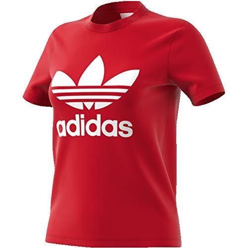 adidas Damen Trefoil Tee T-Shirt, Scarlet, 36 (Damen T-shirt Crewneck Jersey)