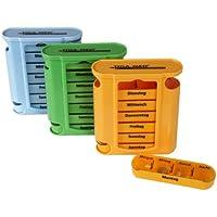 Medikamentendosierer Tablettenbox 3er Set (=3Stück - jede Farbe 1x) Tablettendosierer Pillendose 7 Tage Medikamenten... preisvergleich bei billige-tabletten.eu