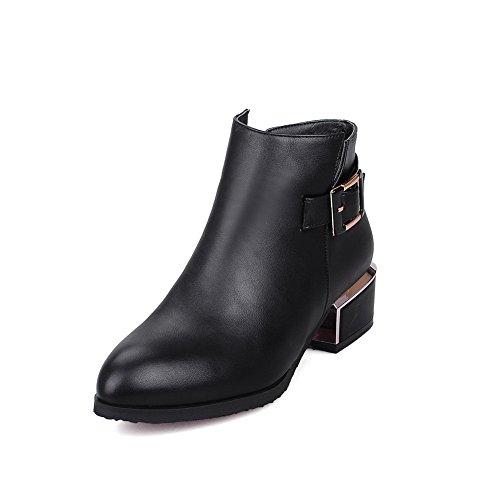 AgooLar Damen Rein Spitz Zehe PU Reißverschluss Stiefel mit Metall Schnalle, Rot, 36