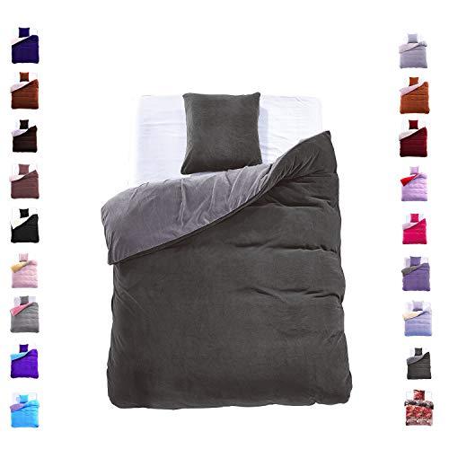 155x220 cm Bettwäsche mit 1 Kissenbezug 80x80 Mikrofaser Weich Warm Winter Kuschelig Bettbezug Bettwäschegarnitur grau dunkelgrau grey dark grey dimgrey Furry