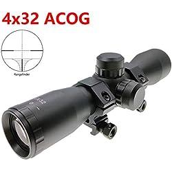 Hauska 4x32 ACOG Compact .223 .308 Miras de Arma Airsoft alcances tácticos óptica Scope (Range Finder Reticle)