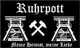 Ruhrpott schwarz FANFAHNE Fussball Fahne Flagge Grösse 1,50x0,90m - FRIP –Versand®