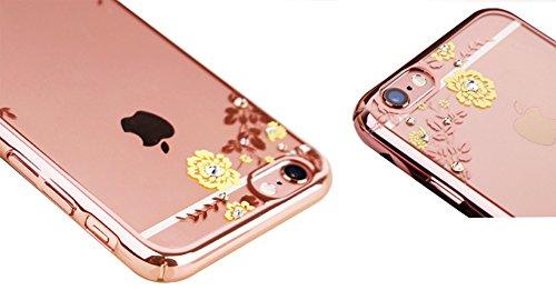 Giardino segreto prova Crash trattare con galvanostegia Caso hard Back per iPhone 6plus / iPhone 6splus - Shock Absorbing + Scratch Resistant Telaio Copertina Caso (Oro di lusso) Rosa Oro