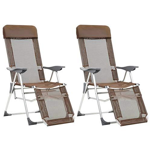 Festnight- Fauteuil de Jardin Pliant en Aluminium Chaise de Relaxation Chaise Longue de Jardin Chaises de Camping Pliables 2pcs et Repose-Pied Taupe