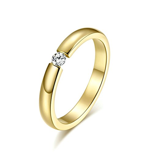 DOLOVE Herren Damen Unisex Kinder - Sonstige Edelstahl Gold zirkonia - Aquamarin Halo Ring Diamant Und