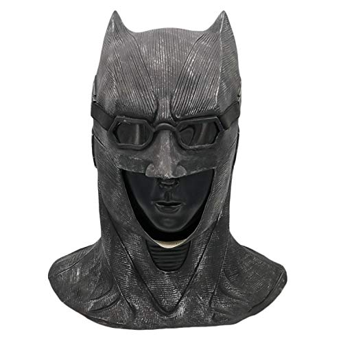 QQWE Batman Latex Maske Dark Knight Maskerade Party Film Cosplay Kostüm Prop Halloween Maske,Black-OneSize