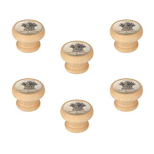 6 Un. Pomo TIRADOR Mueble Vintage Retro madera tinte natural BOCALLAVE - Diámetro 40MM