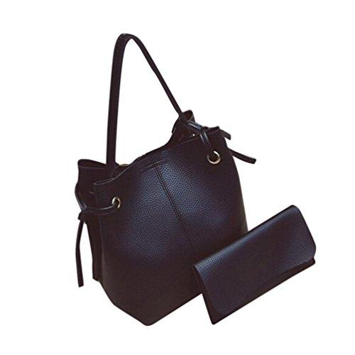 ZARU Frauen-lederner Handtaschen-Kurier-Schulter-Beutel + Handtasche Schwarz