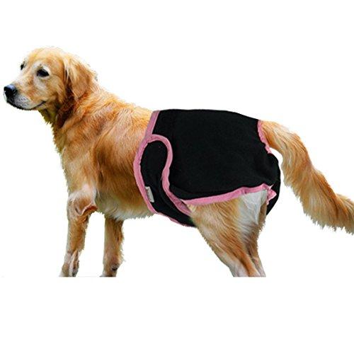 """Tiaobug Haustier weibliche Hund Sanitär Windel Hygieneunterhose Physiologische Unterwäche (M (Brust:13.0-20.0""""/33-50cm), Schwarz)"""