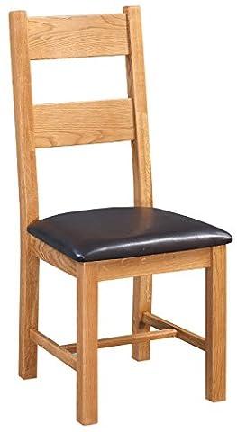 Everest Oak Ladder Back Dining Chair Dark Brown PU Seat pad | Wooden Kitchen seating