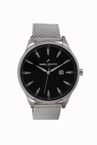 Daniel Hechter DHH 019/AM Men's Watch Analogue Quartz, Black Dial, Steel Strap Silver