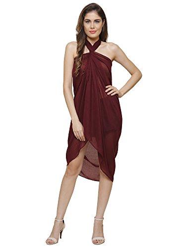 Sarong Uni, copriletto, sciarpa, misura Grande, 110 cm x 200 cm 50% Viscose 50% Cotton - Maroon
