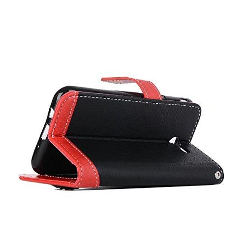 Bookstyle Horizontale Flip Stand Case Litchi Texture Dual Farbe genäht PU Leder Tasche mit Lanyard & Niet Button für Samsung Galaxy J3 2017 ( Color : Black ) Black