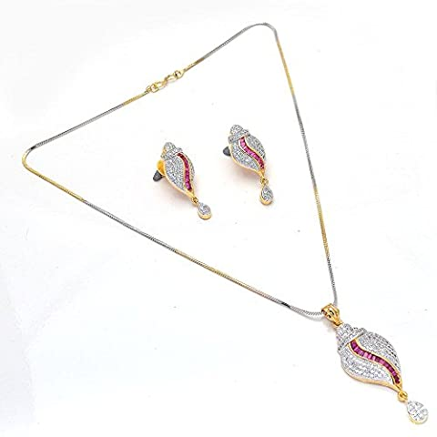 Indian Pearl Ad Cz Jade New Design Red Stone Handmade Silver Gold Plated Pend...