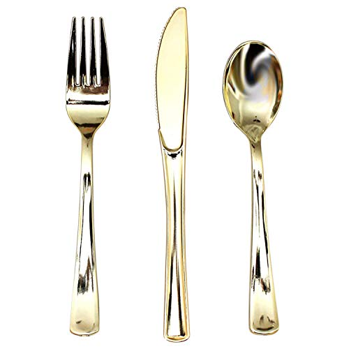 Besteck Set (180 Pcs) - Einweg Gabel, Messer, Löffel aus Plastik mit Goldenes Oberfläche, Wiederverwendbares Geschirr - Einwegbesteck Plastik set - Reise Besteck für Partys, Hochzeiten, Picknicks - Kunststoff-löffel-gabel-messer-set