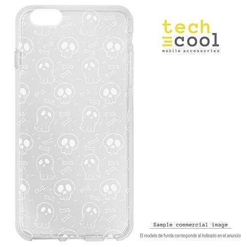 Funnytech¨ SchutzHŸlle Soft TPU Silikon HŸlle Transparent fŸr Huawei Honor View 10 / Honor V10 l Case, Cover, Handy, High Definition Druck [Patron Halloween fantasmas y Calaveras Fondo transparente]