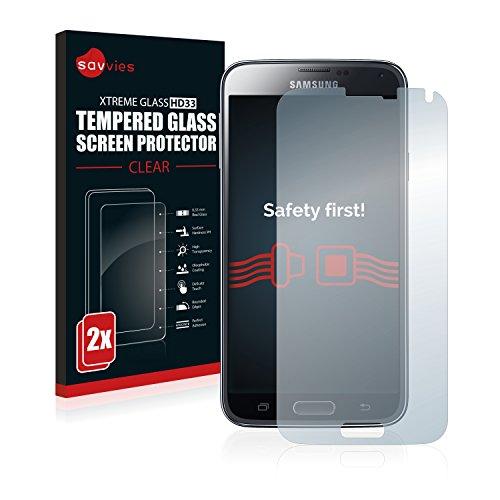 Savvies Panzerglas kompatibel mit Samsung Galaxy S5 / S5 Neo [2er Pack] - Echtglas Schutzfolie 9H